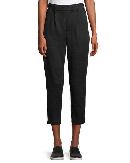 Cozy Pull-On Cropped Wool Pants