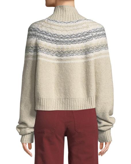 Cropped Fair Isle Turtleneck Sweater
