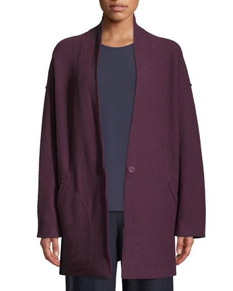 Petite Lightweight Boiled Wool Kimono Jacket