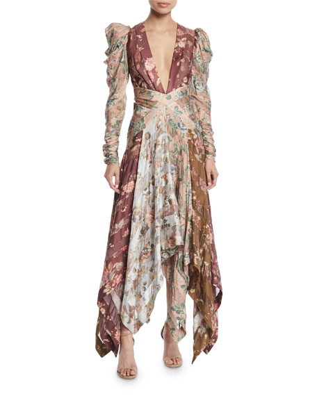 Unbridled Floral Chevron-Panel Silk Dress
