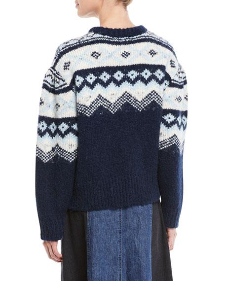 Fair Isle Shirred-Sleeves Intarsia Crewneck Sweater