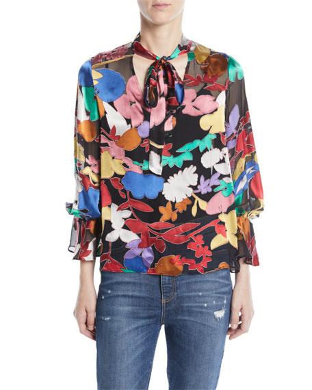 Alice + Olivia Mora Tie-Neck Floral Blouson-Sleeve Blouse