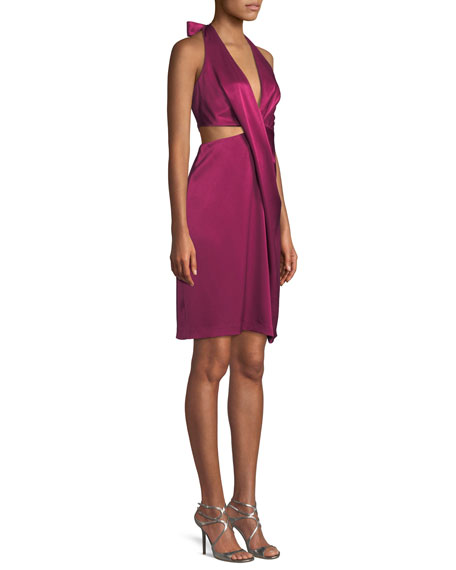 Satin Halter Dress w/ Side Cutout
