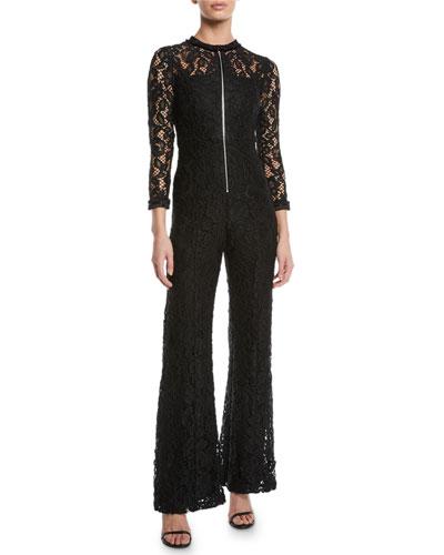 Emaya Lace 3/4-Sleeve Wide-Leg Jumpsuit