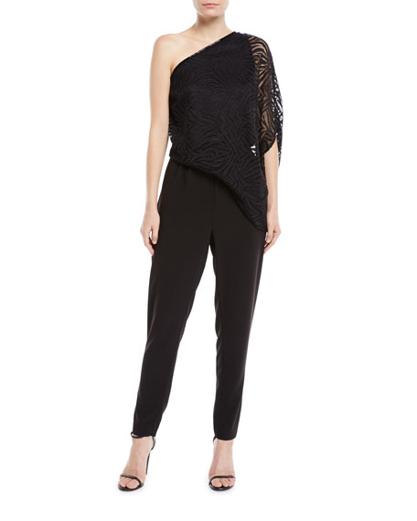 Image 1 of 1: One-Shoulder Lace Jumpsuit w/ Beading