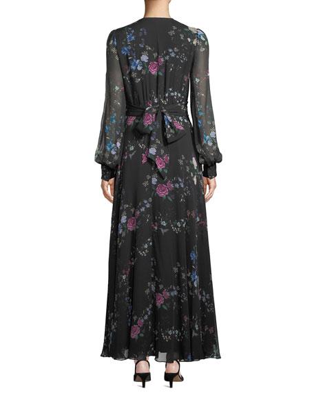 Clemense V-Neck Long-Sleeve Floral-Print Silk Maxi Dress