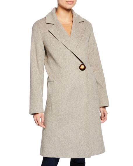 Wool Asymmetric One-Button Midi Coat