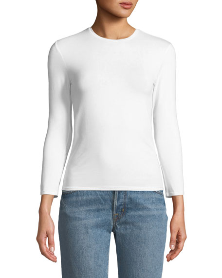 Crewneck Long-Sleeve Pima Cotton Jersey Tee