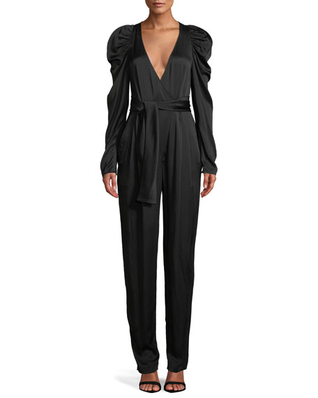 Image 1 of 1: Christian Puff-Sleeve Belted Jumpsuit
