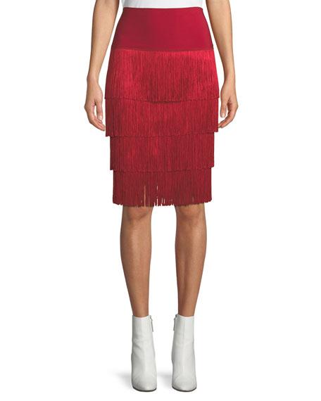 Jersey Skirt W/ Fringe Layers by Norma Kamali