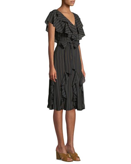 Tessa Striped Ruffle Godet Midi Dress