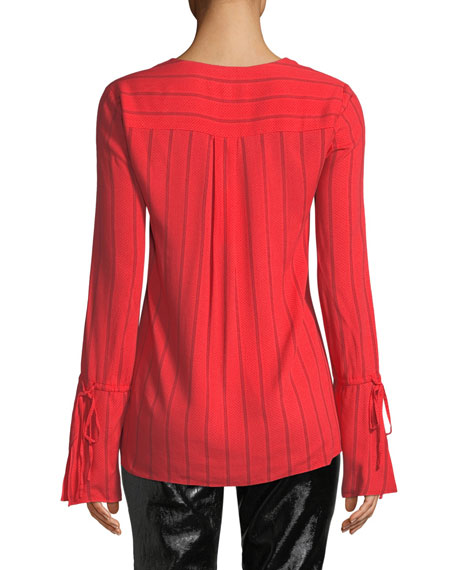 Striped V-Neck Ruffle Long-Sleeve Blouse