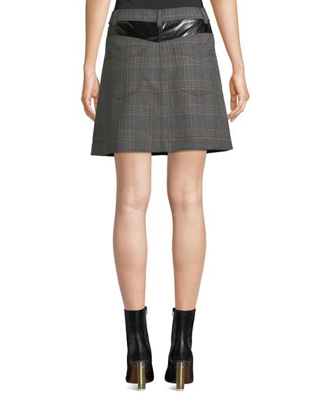 e4905df8d3 Derek Lam 10 Crosby Plaid Jean Mini Skirt with Faux-Leather Trim