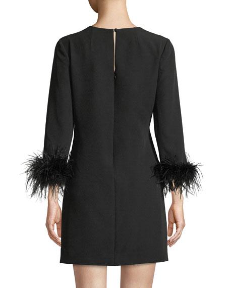 Nicole V-Neck Long-Sleeve Feather-Cuffs A-Line Mini Dress