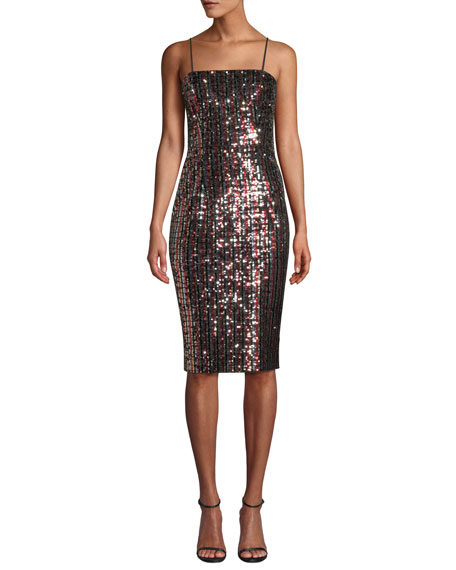 Chrystie Square-Neck Sleeveless Striped Sequin Cocktail Dress