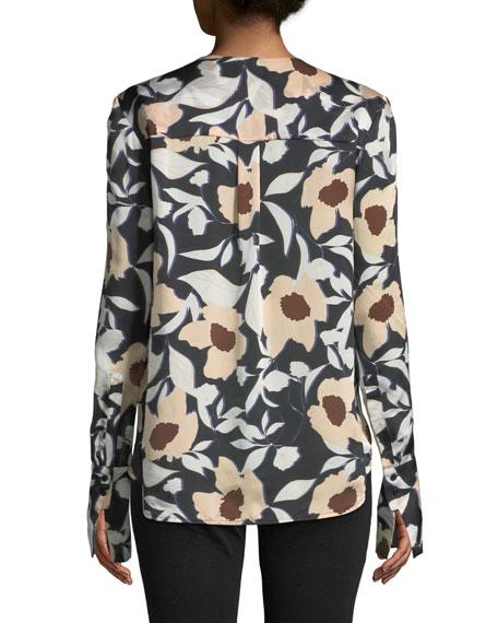 Tarani Floral Silk Charmeuse Button-Down Top