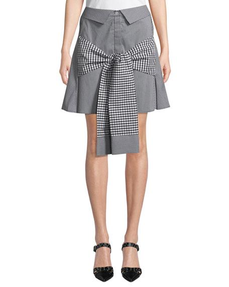 Crowd Pleaser Tie-Front Gingham Mini Skirt