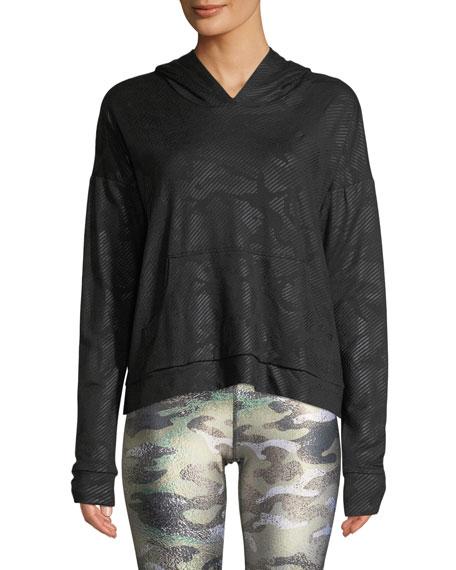 Camo Foil Printed Cross-Back Hoodie Sweatshirt