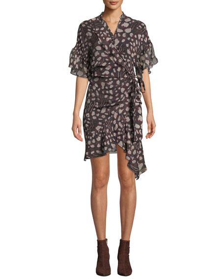 Link Printed Viscose Flounce Wrap Dress
