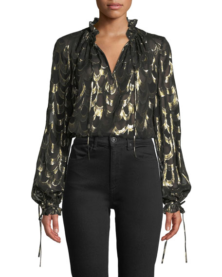 Jenny Long-Sleeve Metallic Silk Chiffon Top