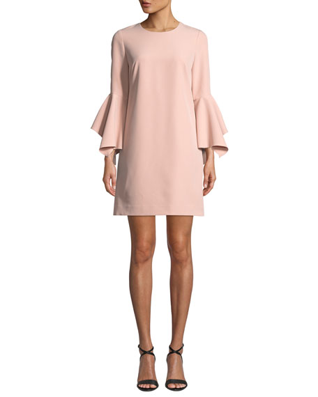 Rachel Italian Cady Bell-Sleeve Dress