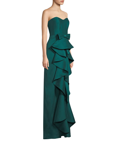 Strapless Column Gown w/ Ruffle Front