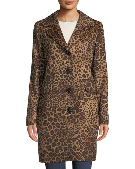 Leopard-Print Button-Down Coat