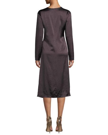 Draped Long-Sleeve Twill Midi Dress