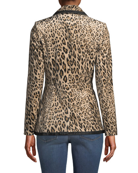 Fitted Button-Front Leopard-Print Velvet Jacket