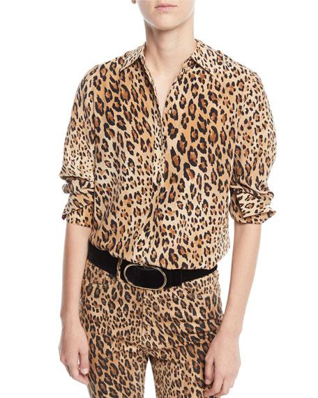 Cheetah-Print Button-Front Silk Top w/ Long Cuffs