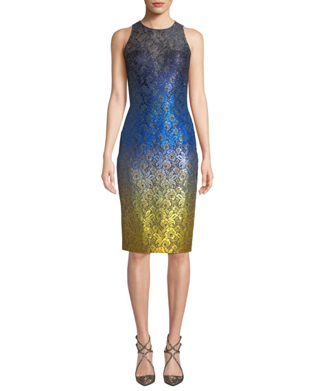 Image 1 of 1: Sleeveless Ombre Dress w/ Lace Yoke