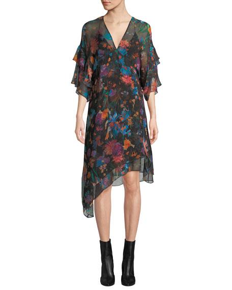 Something V-Neck Tiered-Sleeve Floral-Print Silk Shift Dress