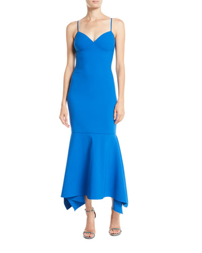 Christiana Slip Gown Dress w/ Flounce Hem