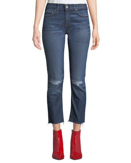 Dre Ankle Straight-Leg Jeans w/ Raw-Edge
