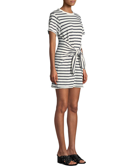 Halsey Crewneck Tie-Neck Striped Cotton Dress