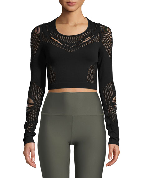 Image 1 of 1: Siren Long-Sleeve Mesh Performance Crop Top
