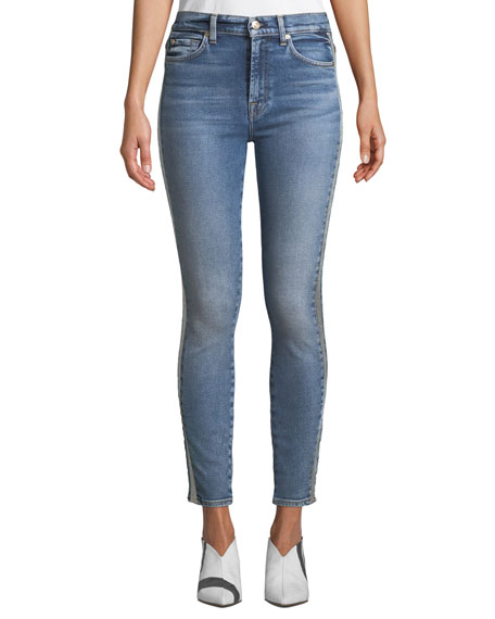 High-Waist Ankle Skinny Jeans with Metallic Stripes