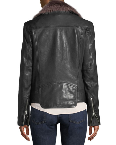Leather Moto Jacket with Removable Shearling Fur
