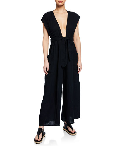 Whitney Plunging Cap-Sleeve Wide-Leg Cotton Gauze Jumpsuit