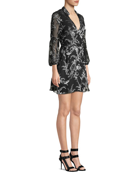 Gaston Blouson-Sleeve Wrap Dress