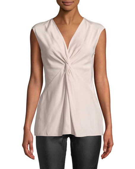 Kenya Sleeveless Matte Silk Blouse