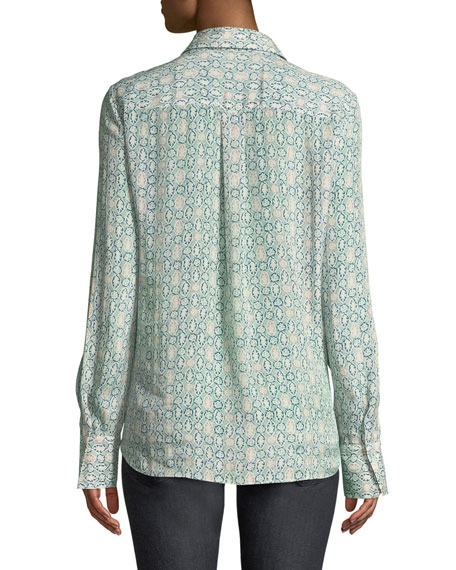 Scottie Decorative Floral Crepe Long-Sleeve Blouse