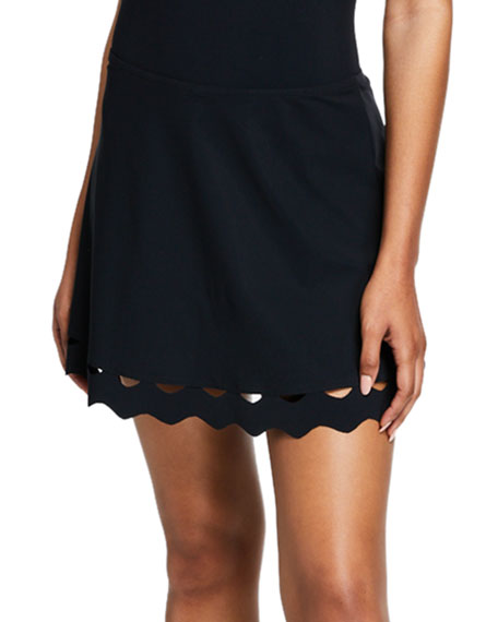 Karla Colletto Skirts HAVANA SWIM SKIRT WITH SCALLOPED TRIM