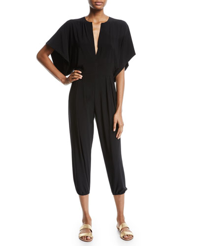 Rectangle Plunging Kimono-Sleeve Jogger Jumpsuit