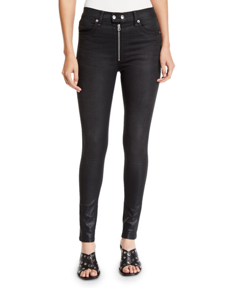 Image 1 of 1: Baxter Coated Ankle Skinny Jeans with Exposed Zip