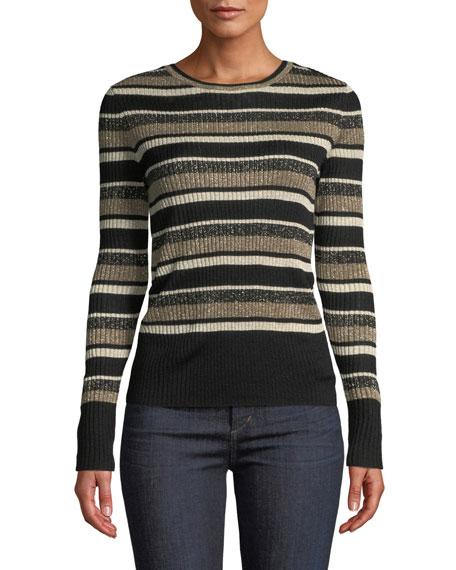 Panel-Stripe Metallic Ribbed Pullover Sweater
