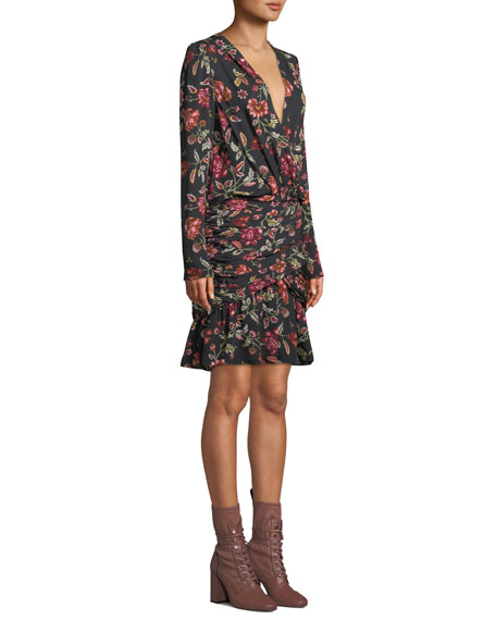Haven Shirred Floral Silk Cocktail Dress