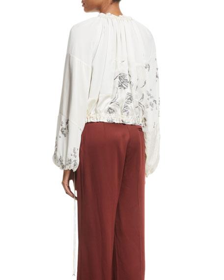 Patchwork Floral Embellished Silk Bomber Jacket