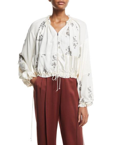 3.1 Phillip Lim Patchwork Floral Embellished Silk Bomber