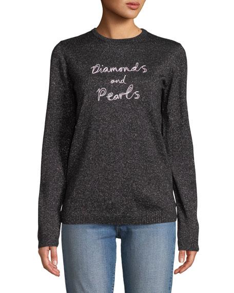 Diamonds & Pearls Embroidered Metallic Pullover Sweater